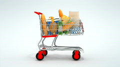 Quick shopping of cart in a market Stock Footage