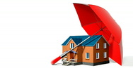 Stock Video Footage of red umbrella, protecting new private house