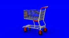 Shopping cart transforming to high-speed transport with large wheels Stock Footage