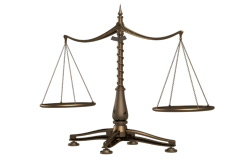 Balancing brass weight scales  Stock Footage