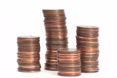 Pennies stack recedes - NTSC Stock Footage