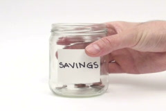 Money jar savings taking out - NTSC - stock footage
