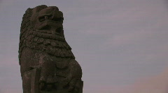 Lion Gargoyle Statue Stock Footage