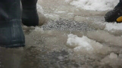 Stock video footage NY puddles and snow Stock Footage