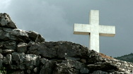 Large cross on the stone Stock Footage