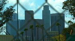 Stock Video Footage of DTLA Skyline Fence, Wide
