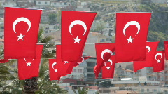 Turkish Flag bunting  - stock footage