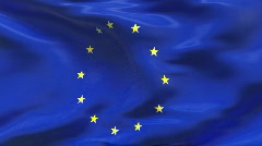 Creased satin EUROPEAN UNION flag in wind in slow motion - stock footage