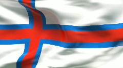 Creased satin FAROE ISLANDS flag in wind in slow motion Stock Footage