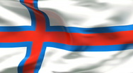 Stock Video Footage of Creased satin FAROE ISLANDS flag in wind in slow motion