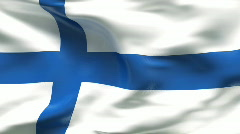 Creased satin FINLAND flag in wind in slow motion Stock Footage