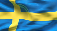 Stock Video Footage of Creased satin SWEDEN flag in wind in slow motion