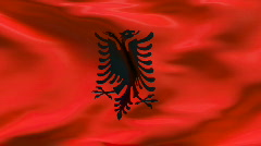 Stock Video Footage of Creased satin ALBANIAN flag in wind in slow motion