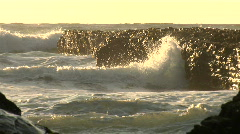 Pacific Ocean Waves and Rocks near tidepool Stock Footage