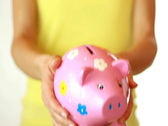 Hands showing piggy bank  Stock Footage