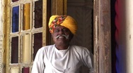 Palace Attendent, Meherangarh Fort, Jodhpur, Rajasthan India Stock Footage