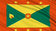 Grenada flag, with real structure of a fabric Stock Footage