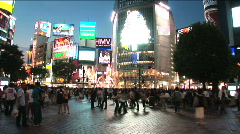 Tokyo Shibuya - Nigh Scene 1 - around the most famous street in Shibuya Stock Footage