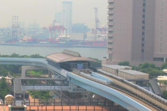 Time Lapse - Odaiba - Trainride - Japanese Monorail train, Tokyo, Japan - stock footage