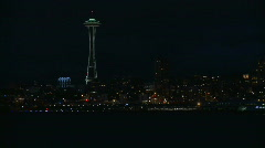 WS Seattle Space Needle, Skyline and ferry NIGHT - stock footage