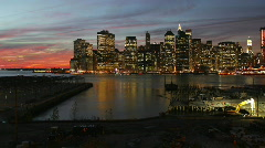 NYC Downtown Skyline at Twilight Stock Footage