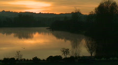 Sunrise with mountains, river Stock Footage