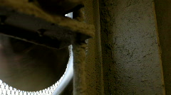 Shadow of Old Dirty fan blade spinning Stock Footage