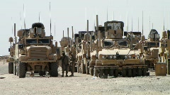 Mine-resistant Vehicles Prepare for Convoy (HD) c Stock Footage