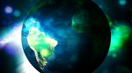 EARTH ROTATES WITH COLORFUL BACKGROUND 4 1 Stock Footage