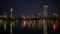 Charles river boston skyline night Stock Footage