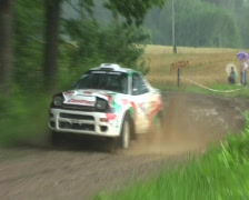 Classic toyota celica rally car in rain Stock Footage