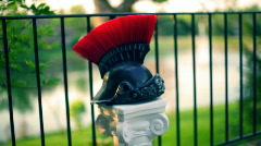 T180 roman helmut helmet sparticus rome greece Stock Footage