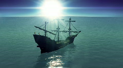 T180 circling loop looping ship sailing galleon Stock Footage