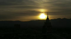 Las Vegas 2010 - grungy sunset from the Sahara Hotel as the marquis turns on Stock Footage