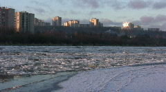 Ice drift in a river at sunset 15 (720p) Stock Footage