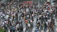 Tokyo Shibuya Crossing, Japan. Famous intersection outside Shibuya Station Stock Footage
