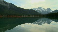 Train Lake Mountains Stock Footage