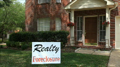 Foreclosure sign on house Stock Footage
