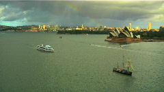 Sydney Opera House Harbour and Rainbow Stock Footage