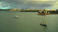 Stock Video Footage of Sydney Opera House Harbour and Rainbow