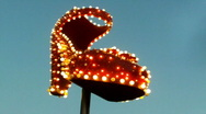 Flashing turning red shoe in downtown Las Vegas Stock Footage