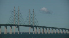 Oresunds bridge connecting sweden and denmark Stock Footage