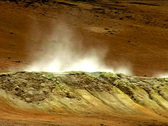 Stock Video Footage of Steaming Wasteland Crater