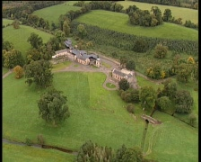 Aerial of Old farm Stock Footage