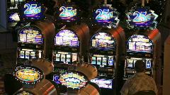 Slot machines in dark casino P HD 6975 - stock footage