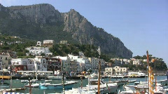 View of headland and boats at Capri  Stock Footage