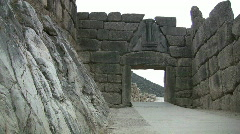 Greek Antiquities Lion Gate at Mycenae  Stock Footage