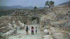 Greek Antiquities Teens at Mycenae Stock Footage