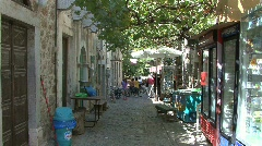 Chios Vine covered street in Mesta Stock Footage