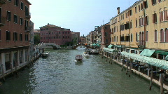Venice Boats and sidewalk cafes Stock Footage